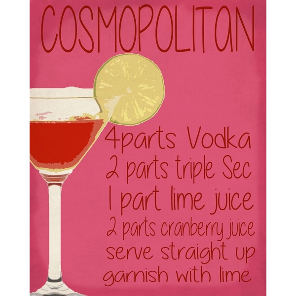 Vintage Metal Sign Cosmopolitan Cocktail Recipe