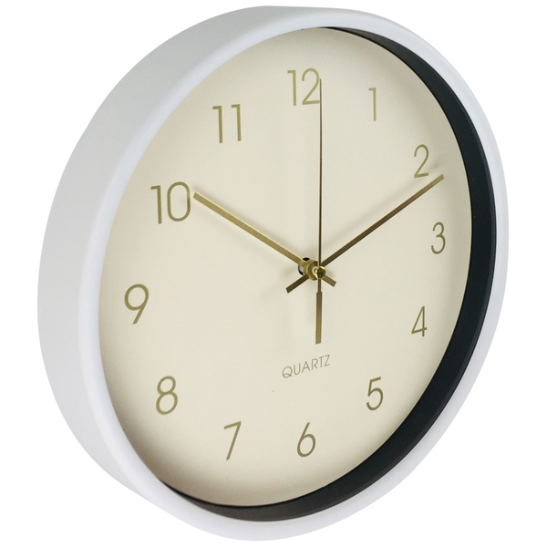 Round Wall Clock In White