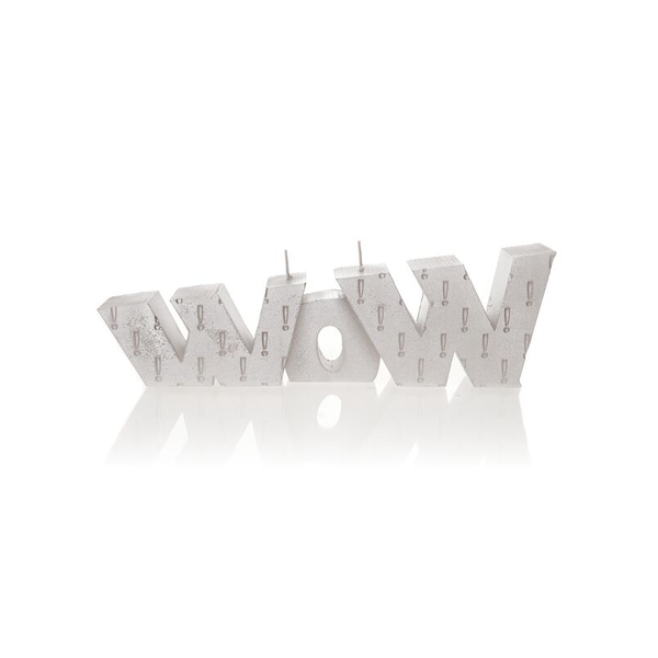 Silver WOW Sign Candle