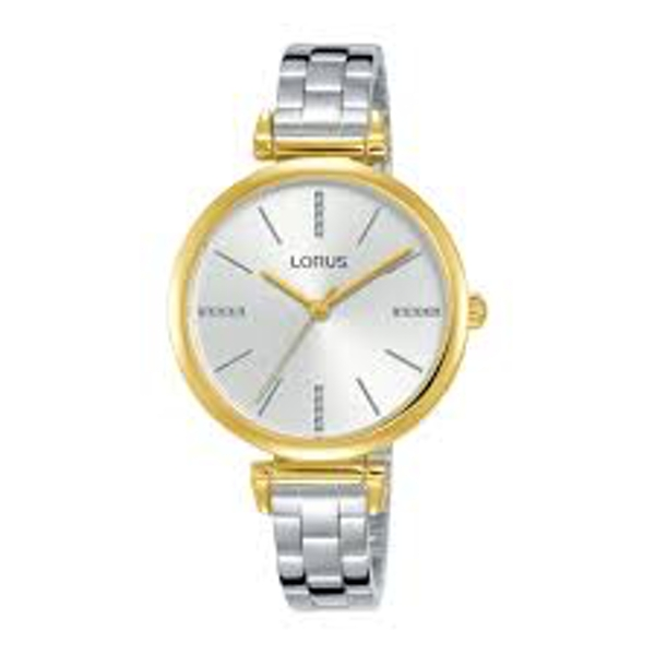 Lorus RG236QX9 Ladies Slim Polished Stainless Steel Bracelet Watch With Light Gold Dial