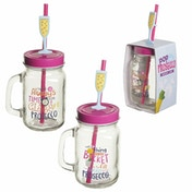 Prosecco Slogans (Pack Of 6) Mason Drinking Jar with Straw
