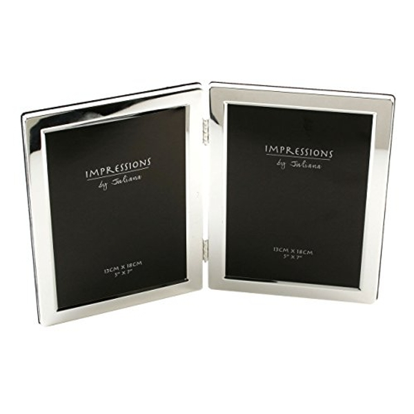 """5"""" x 7"""" - Impressions Silver Plated Double Photo Frame"""