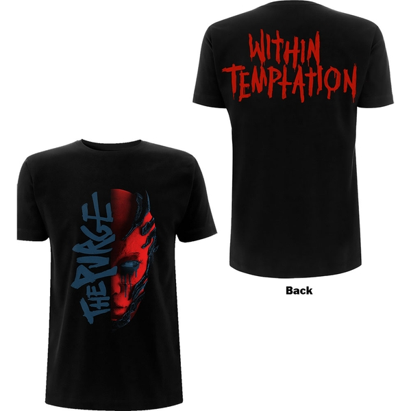 Within Temptation - Purge Outline (Red Face) Ladies Large T-Shirt - Black