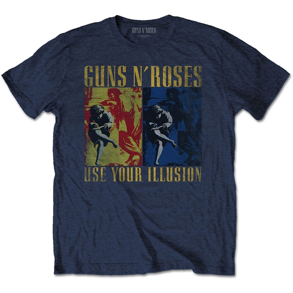 Guns N' Roses - Use Your Illusion Navy Unisex Small T-Shirt - Blue