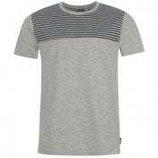 Lee Cooper Stripe Panel T-Shirt Medium Grey
