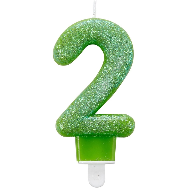 Amscan 2nd Birthday Candles (Glitter Green)