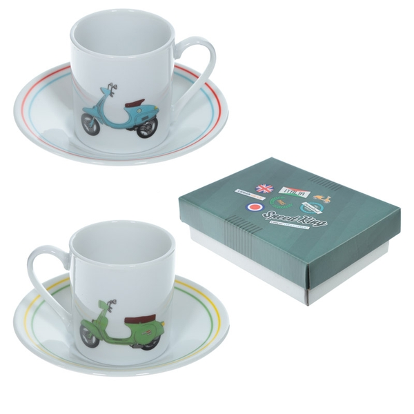 Scooter Set of 2 Espresso Cup and Saucer