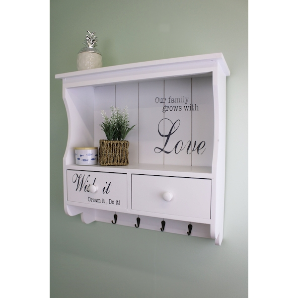 Wall Unit in White with Hooks, Drawers & Shelf