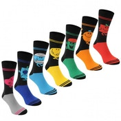 Character Mr Men 7 Pack Crew Socks Mens 7-11 (Multicoloured)