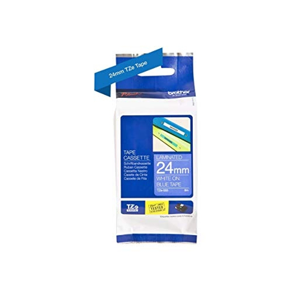 Brother TZe-555 Labelling Tape Cassette, 24 mm (W) x 8 m (L), Laminated, Brother Genuine Supplies - White on Blue