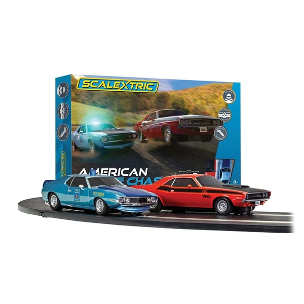 American Police Chase (AMC Javelin v Dodge Challenger) Scalextric 1:32 Standard Analogue UK Plug Set