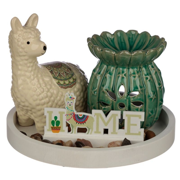 Cactus Oil Burner & Llama Ceramic Figurine Eden Aroma Set