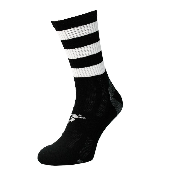 Precision Pro Hooped GAA Mid Socks Junior Black/White - UK Size J12-2
