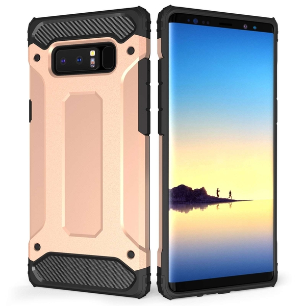 Caseflex Samsung Galaxy Note 8 Armoured Shockproof Carbon Case - Rose Gold - Image 1