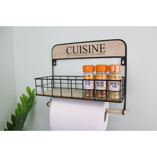 Wall Hanging Kitchen Storage Unit with Kitchen Roll Holder