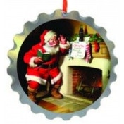 Coca Cola Wooden Bottle Top Santa & Fireplace Tree Decoration