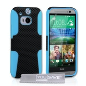 YouSave Accessories HTC One M8 Tough Mesh Combo Case - Blue/Black