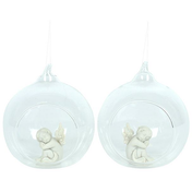 Cherub in Hanging Glass Ball Pack Of 4