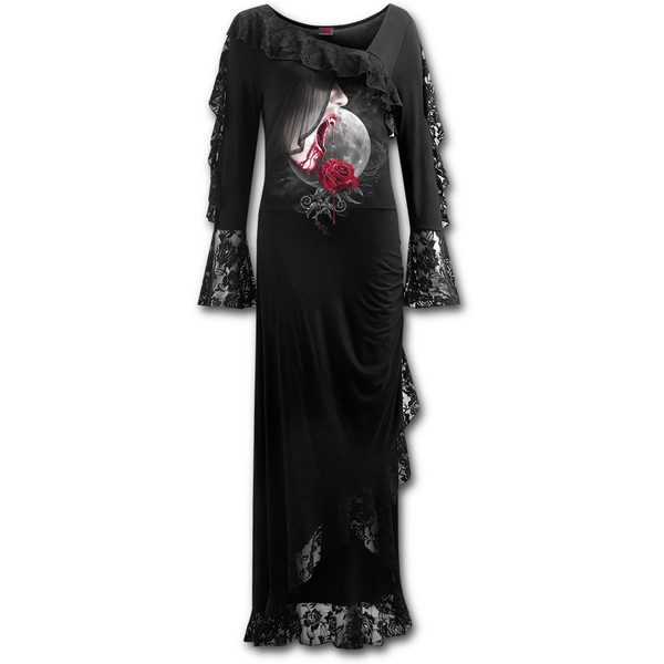 Temptress Women's Small Lace Drape Asymmetric Neck Gothic Dress - Black