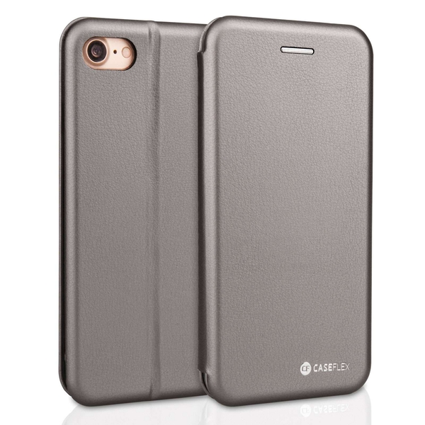 Caseflex Apple iPhone X PU Leather Stand Wallet Felt Lining ID Slots - Grey (Retail Box) - Image 2