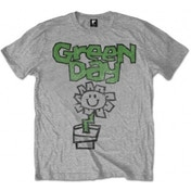 Green Day Flower Pot Mens Grey T Shirt: X Large