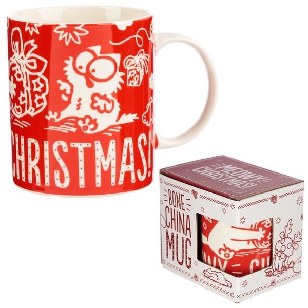 Simon's Cat Meowy Christmas New Bone China Mug