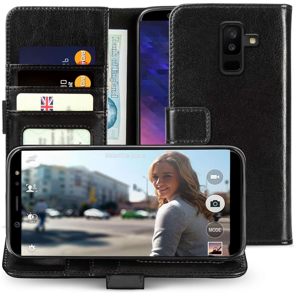 CASEFLEX SAMSUNG GALAXY A6 PLUS (2018) PU LEATHER ID STAND WALLET - BLACK