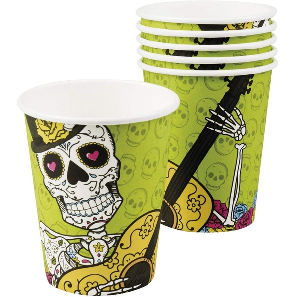 Day Of The Dead Paper Cups 250ml (Pack Of 6)