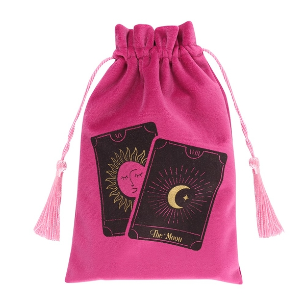 Tarot Cards Pink Drawstring Pouch