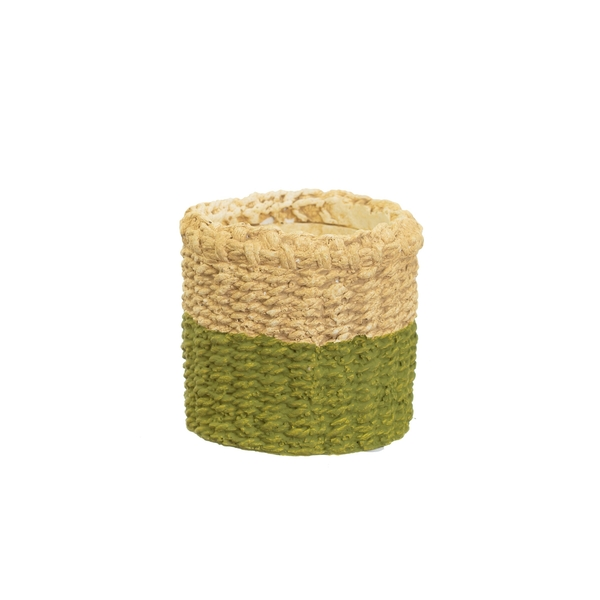 Sass & Belle Mini Green Dip Cement Basket Planter