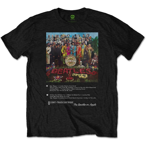 The Beatles - Sgt Pepper 8 Track Unisex X-Large T-Shirt - Black