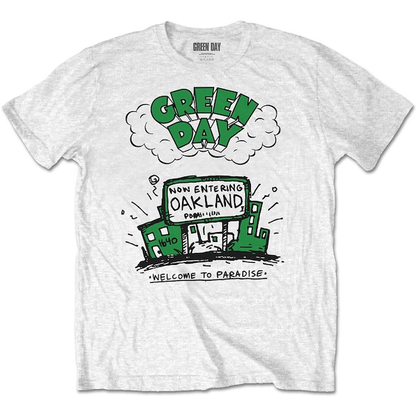 Green Day - Welcome to Paradise Unisex Large T-Shirt - White