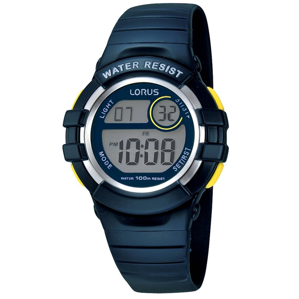 Lorus R2381HX9 Youths Digital Chronograph Watch with Blue Resin Strap