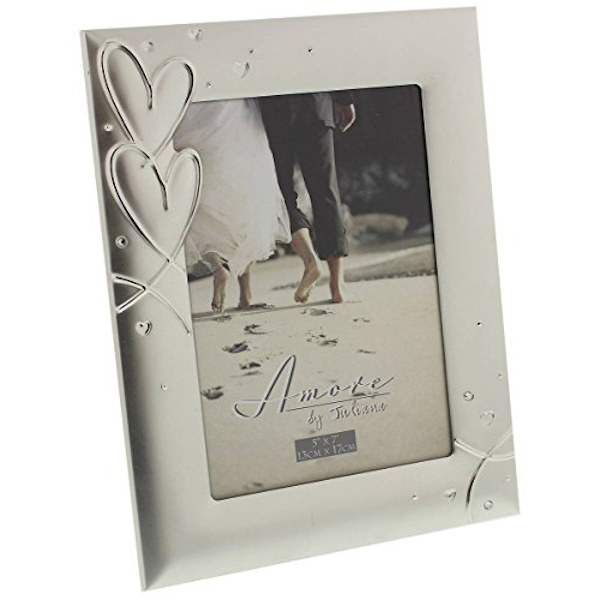 """5"""" x 7"""" - AMORE BY JULIANA? Silverplated Photo Frame"""
