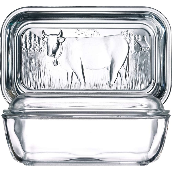 Luminarc Cow Butter Dish with Lid Clear