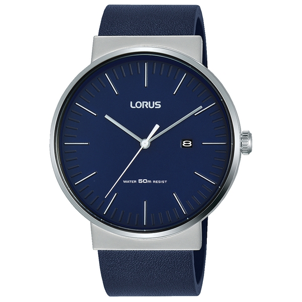 Lorus RH985KX9 Mens Blue Leather Strap Dress Watch with Blue Dial