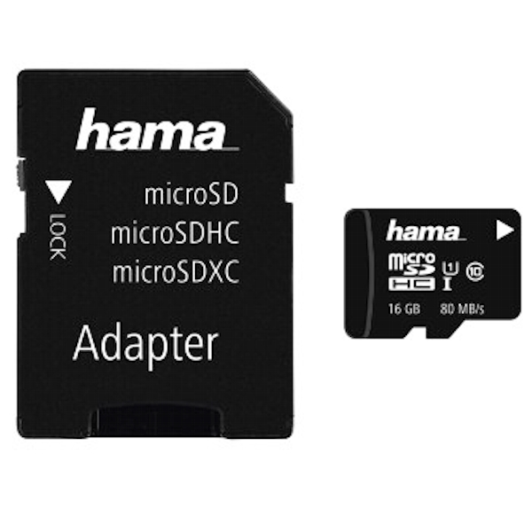 microSDHC 16GB Class 10 UHS-I 80MB/s + Adapter/Mobile