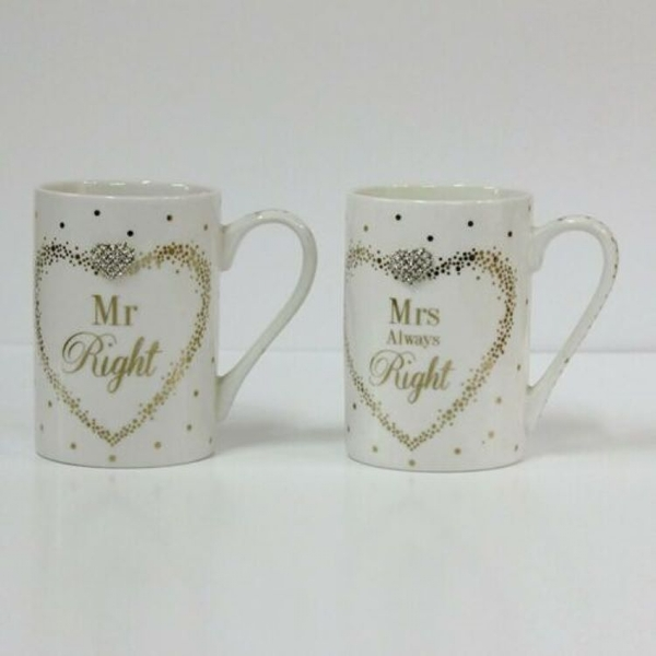 Maddots Mr/Mrs Right Mugs By Lesser & Pavey