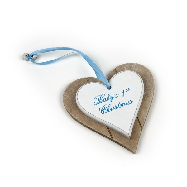 Baby's 1st Christmas Hanging Wooden Heart Decoration by Heaven Sends (Blue)