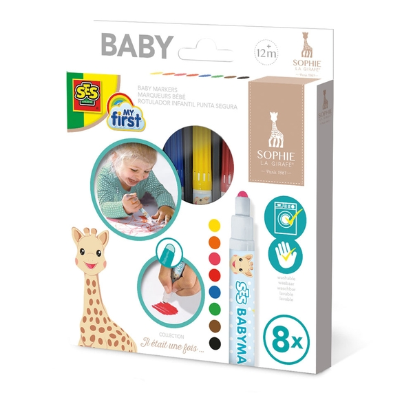 SES Creative - Children's My First Sophie La Giraffe Baby Markers Set 8 Colours (Multi-colour)