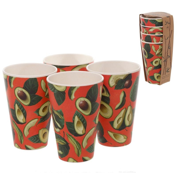 Bamboo Composite Avocado Reusable Cup Set of 4