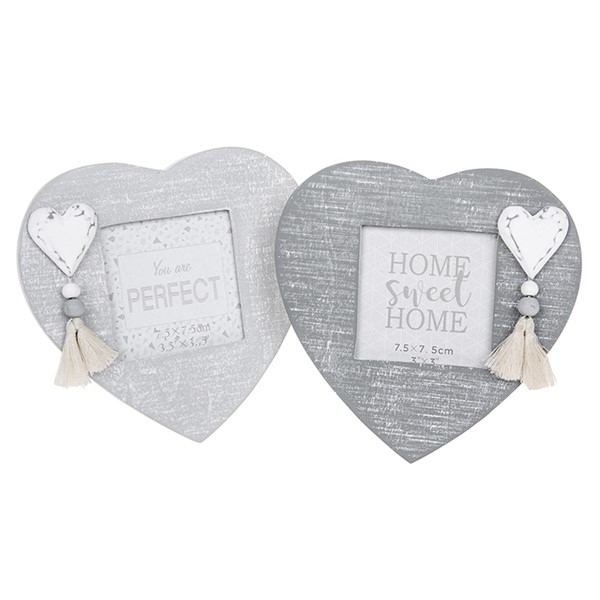 Provence Cool Grey Heart Frame 3x3