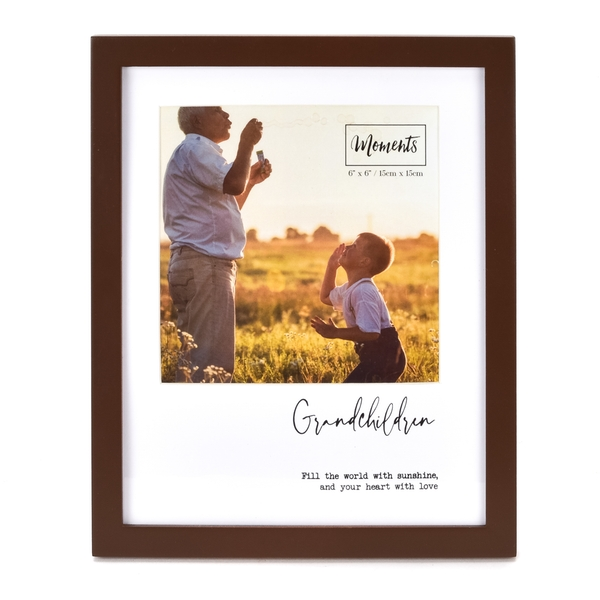 """Moments Wooden Photo Frame with Mount 6"""" x 6"""" -Grandchildren"""