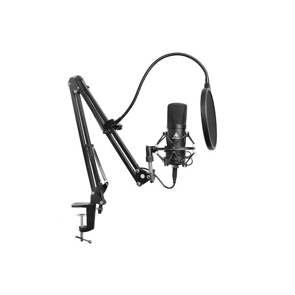 Maono Studio Microphone Kit USB Connection Table Spring Loaded Boom Arm and Pop Filter