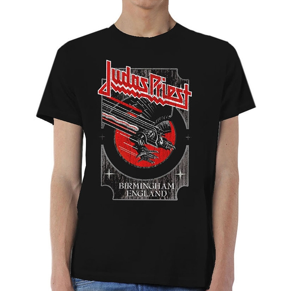 Judas Priest - Silver and Red Vengeance Unisex Large T-Shirt - Black