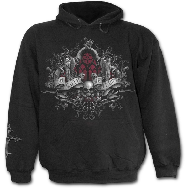 In Goth We Trust Men's Small Hoodie - Black