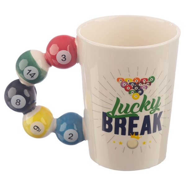 Pool Balls Shaped Handle Ceramic Mug