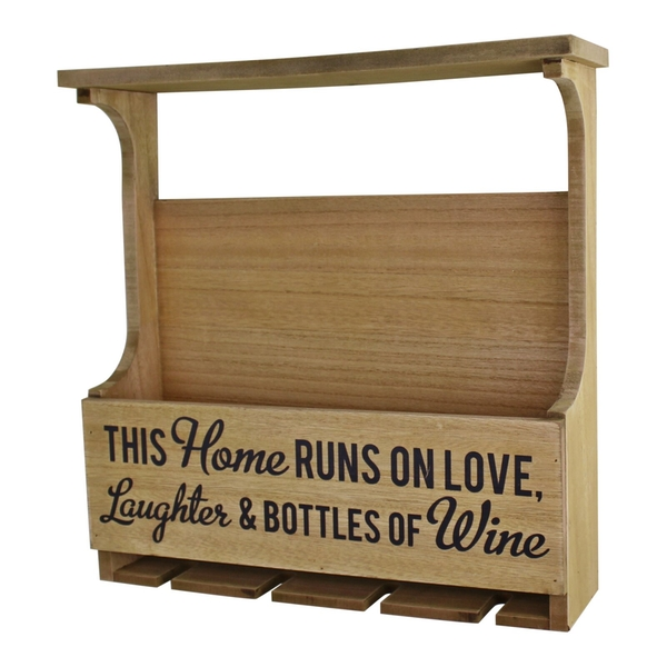 Wall Hanging Wine Bottle & Glass Holder