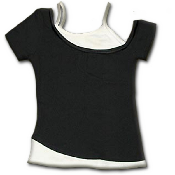 Urban Fashion 2In1 off Shoulder Women's Medium Short Sleeve Top - Black