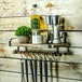 Rustic Wooden Shelf with Rail | M&W - Image 2